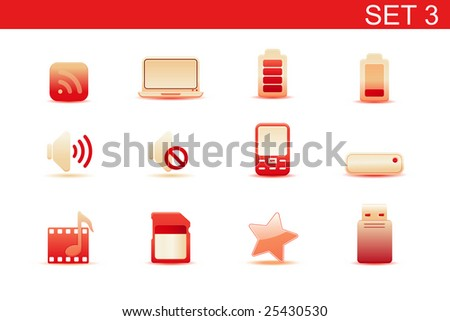 Vector illustration ? set of red elegant simple icons for common computer and media devices functions.Set-3