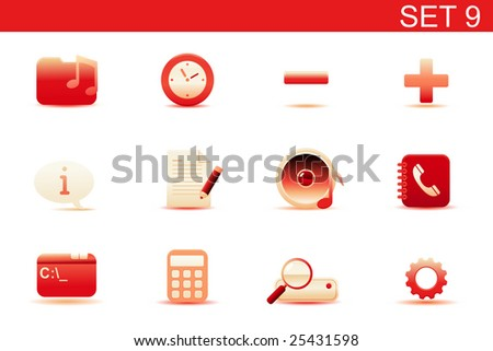 Vector illustration ? set of red elegant simple icons for common computer and media devices functions. Set-9 - stock vector