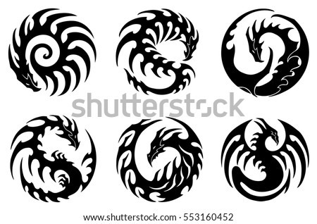 Vector Illustration, Set Of Round Tribal Dragon Designs, Black And White  Graphics