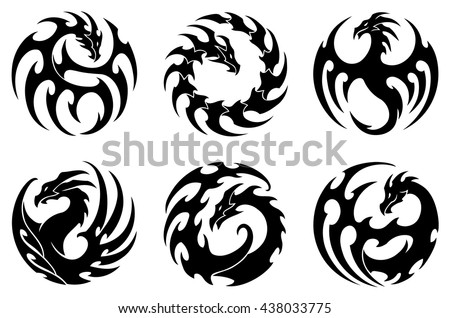 vector illustration set round tribal dragon stock vector