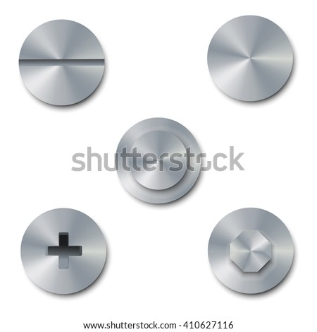 Vector illustration set of screws and bolts on white background. Bolt cap top view. Collection of metal shiny screws and bolts - stock vector
