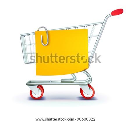Vector illustration set of shopping concept with shopping cart and yellow paper note list - stock vector