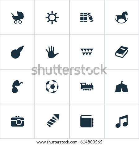 Vector Illustration Set Of Simple Baby Icons. Elements Sparkler Stroller Soccer And Other  sc 1 st  Shutterstock & Vector Illustration Set Simple Baby Icons Stock Vector 614803565 ...