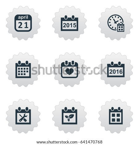 Vector Illustration Set Simple Calendar Icons Stock Vector