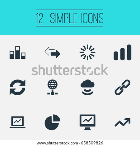 Vector Illustration Set Of Simple Data Icons. Elements Chain, Analytics, Process And Other Synonyms Progress, Arrows And Reload.