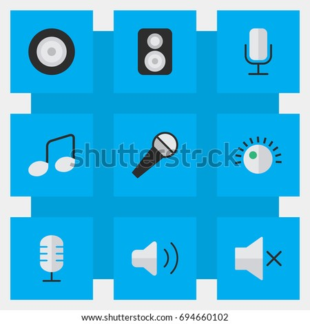 Vector Illustration Set Of Simple Sound Icons. Elements Volume, Record, Loudness And Other Synonyms Speaker, Make And Music.