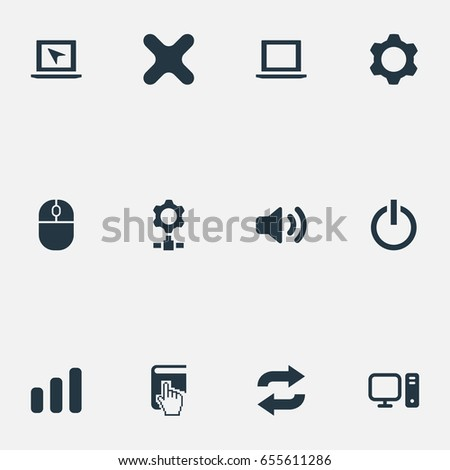 Vector Illustration Set Of Simple Technology Icons. Elements Gear, Cross, Select And Other Synonyms Knob, Laptop And Volume.