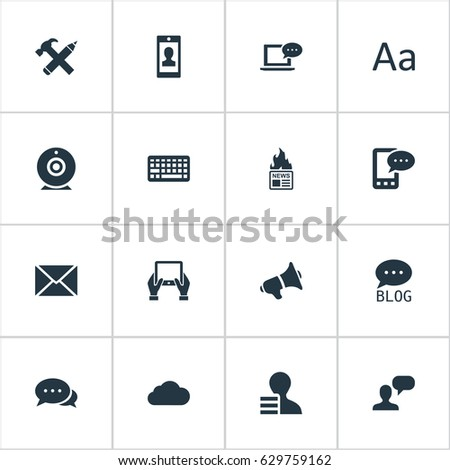 Vector Illustration Set Of Simple User Icons. Elements Cedilla, Notepad, Post And Other Synonyms Megaphone, Laptop And Web.