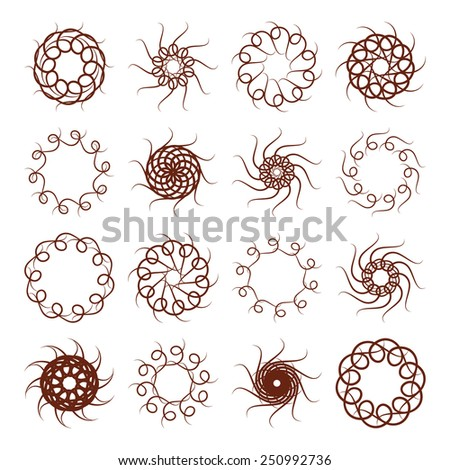 Vector illustration: set of sixteen brown vintage solar round ornaments - stock vector
