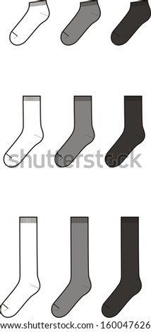 Vector illustration. Set of socks. Different colors: white, grey, black - stock vector
