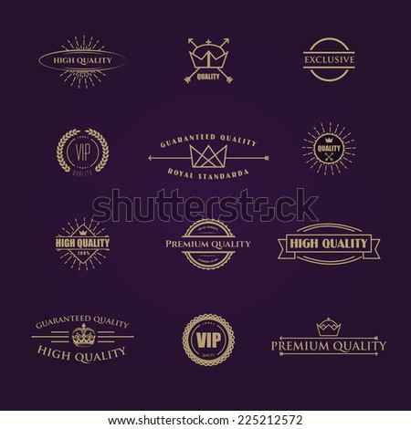 vector illustration set of stamps gold for use in business and commerce - stock vector