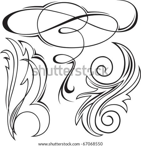 Vector illustration set of swirling  decorative floral elements - stock vector