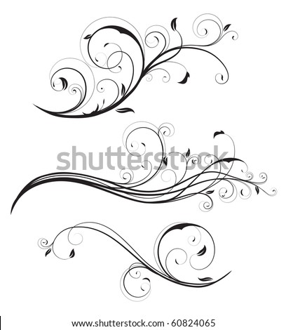 Vector illustration set of swirling flourishes decorative floral elements - stock vector