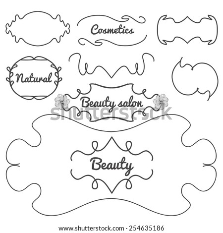 Vector illustration. Set of templates and frameworks for beauty salons, hairdressers, cosmetics shop