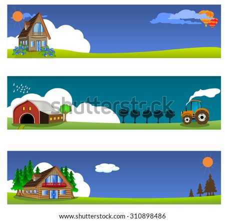 vector illustration set of three different country banners - stock vector