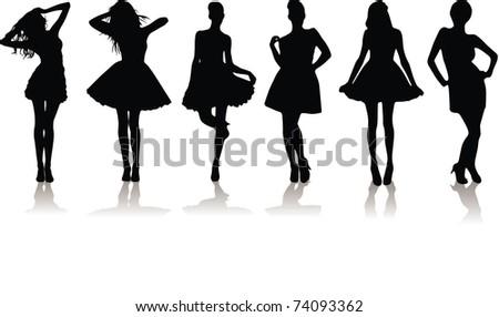 vector illustration set of various beautiful model girls in dress.Lady girls - stock vector