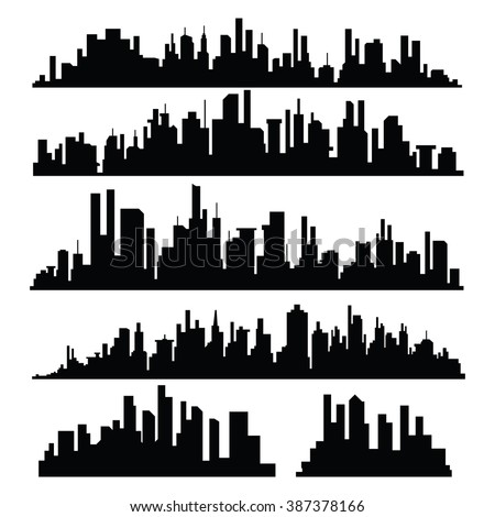 Vector Illustration : Set of vector cities silhouette - stock vector