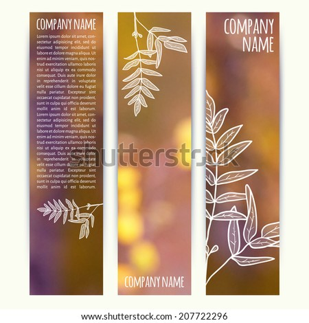 vector illustration. Set of  vertical autumn banners  with blurred  background and  sketch - rowan leaf