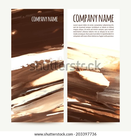 vector illustration. Set of vertical banners with palette knife texture. cream and chocolate - stock vector