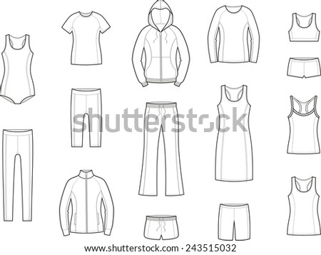 Vector illustration. Set of women's sport clothes - stock vector
