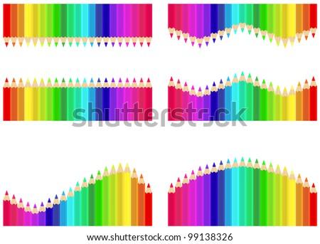 Vector illustration set  pencils different  colour - stock vector