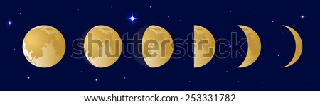 Vector illustration set. Phases of the moon or lunar phase in the night sky with stars. Different silhouettes of the Moon  - stock vector