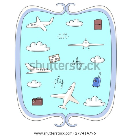 Vector illustration set planes and things connected with flights in decorative frame - stock vector