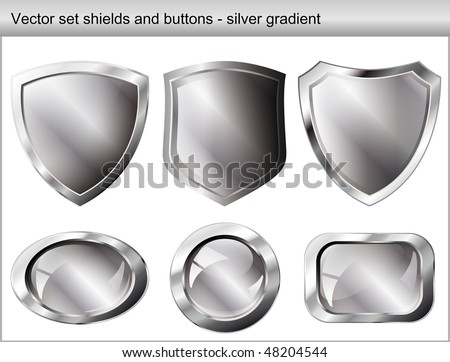 Vector illustration set. Shiny and glossy shield and button with silver colors. Abstract objects isolated on white background. - stock vector