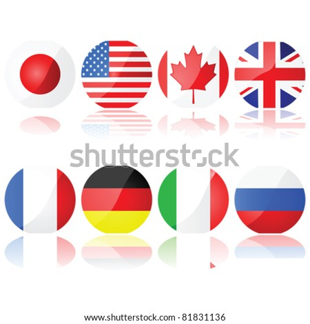 Vector illustration set showing buttons with the flags of the countries that compose the G-8 (Group of Eight) - stock vector