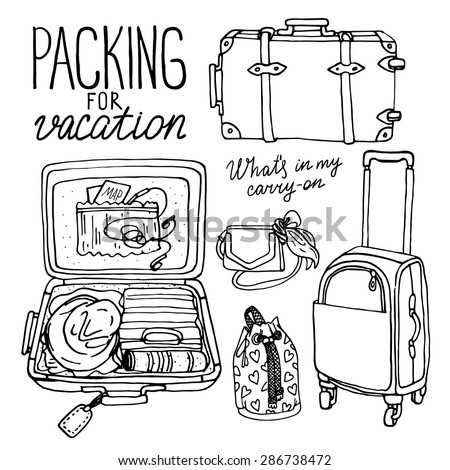 Vector illustration set with bag, handbag, traffic trunks, backpack, suitcase. Packing for vacation. Black and white hand drown doodle sketch - stock vector