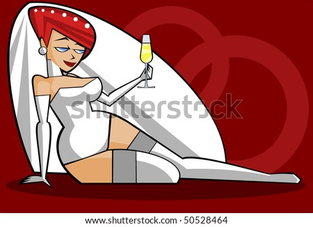 Vector illustration: sexy bride in white lingerie - stock vector