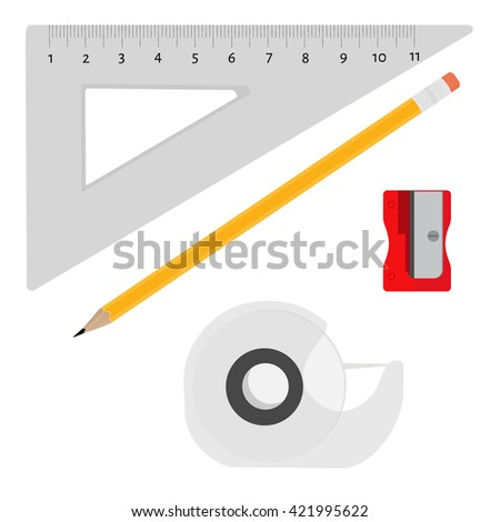 Vector illustration  sharpener, scotch tape, pencil and triangle ruler office, school stationery tools. Office stationery tools icon set flat design - stock vector