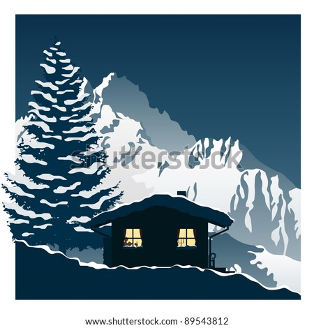 vector illustration showing a cozy ski cottage in the snowy mountains