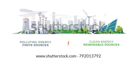 Vector illustration showing clean and polluting electricity generation production. Polluting fossil thermal coal and nuclear power plants versus clean solar panels and wind turbines renewable energy.