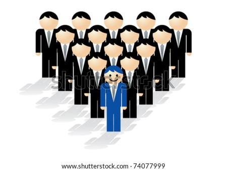 Vector illustration showing the concept of leadership. One business man in blue with a smile on his face leads a group of faceless business men in black. - stock vector