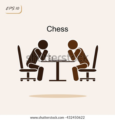 Vector illustration showing two chess playing chess. Business concept. Sign and symbol - stock vector