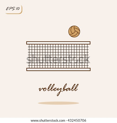 Vector illustration showing volleyball net and ball. Volleyball Sports Game