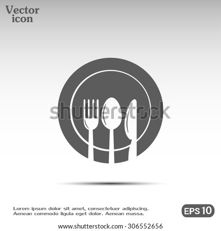 vector illustration sign with spoon, fork and knife - stock vector