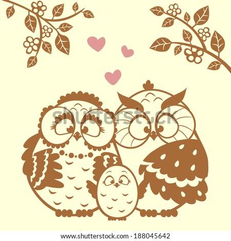 vector illustration silhouette cute cartoon family owls - stock vector