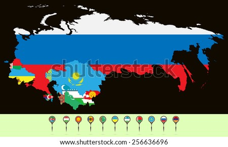 Vector illustration. Silhouette maps states CIS (Commonwealth of Independent States). Set creative markers with flags of states members of the CIS. - stock vector