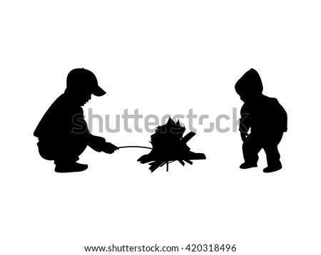 Vector illustration silhouette of kids sitting around the campfire. Isolated on white background. Two children at the bonfire.