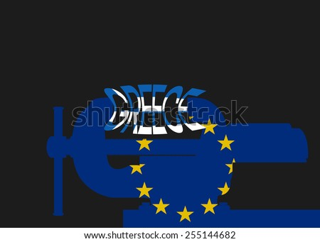 Vector illustration. Silhouette vise wish flag eu. Squeezing inscription Greece. - stock vector
