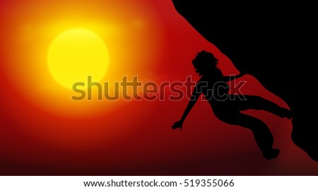 Vector illustration silhouettes of climber on sunset