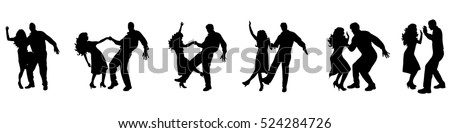 Vector illustration silhouettes of dancing couple on white background