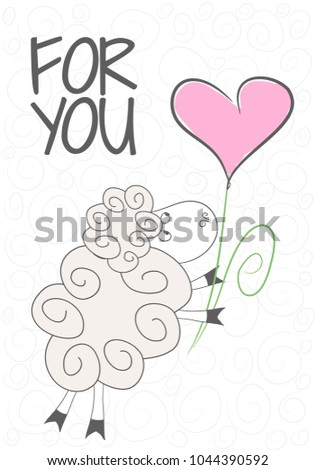 Simple design of cute sheepflower heart perfect for card