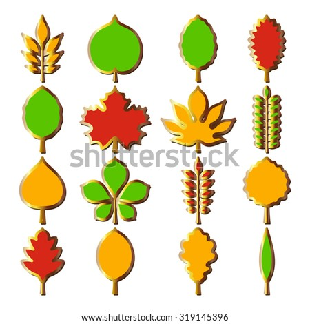Vector illustration: sixteen bright different tree 3d leaves shapes - red, yellow and green with glossy golden stroke isolated on white background - stock vector