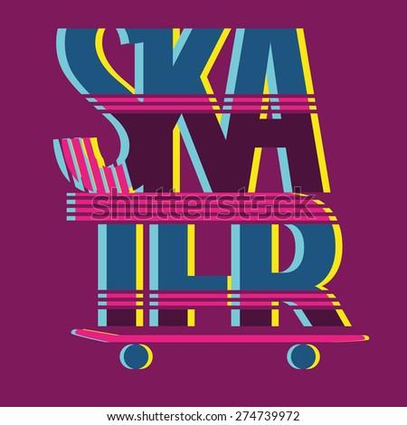 vector illustration skater rider, graphics for t-shirt ,vintage design - stock vector
