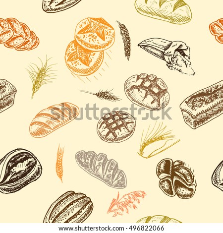 Vector illustration sketch. bread, loaf, baguette,  Pattern bakery house with fresh pastry