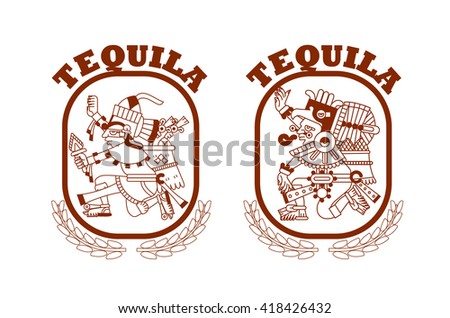 vector illustration sketch drawing aztec pattern for tequila package design on brown color in white background