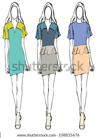Vector illustration sketch of fashion girl in dress style - stock vector
